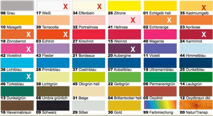 Farbtabelle für den NWW-Shop