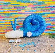 Bettschnecke  blau Puckschnecke Bettschlange - aus Bio-Baumwolle