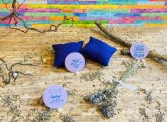 Duftkissen mit Glaubensspruch - aus Baumwollstoff mit Lavendelfüllung